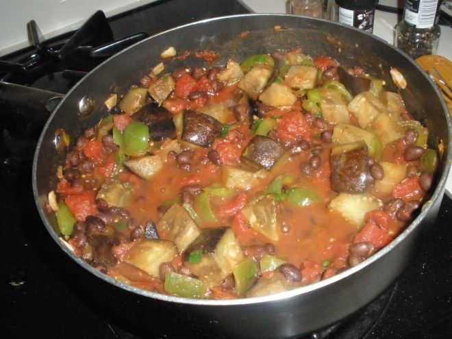 bell peppers, eggplant, black beans, tomatoes, garlic, and cilantro
