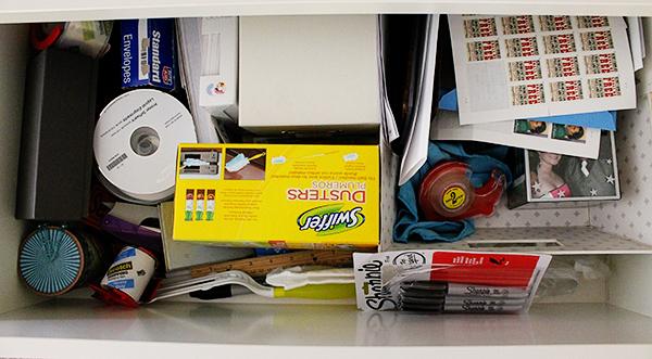 Slightly messy office drawer